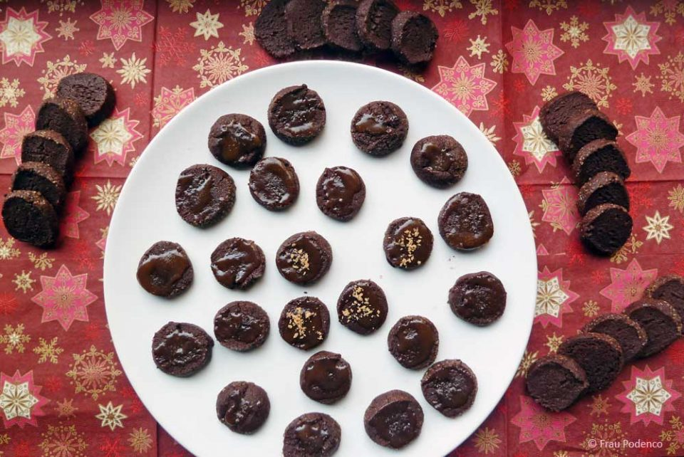 schoko-sand-kekse, gesalzenes Karamell