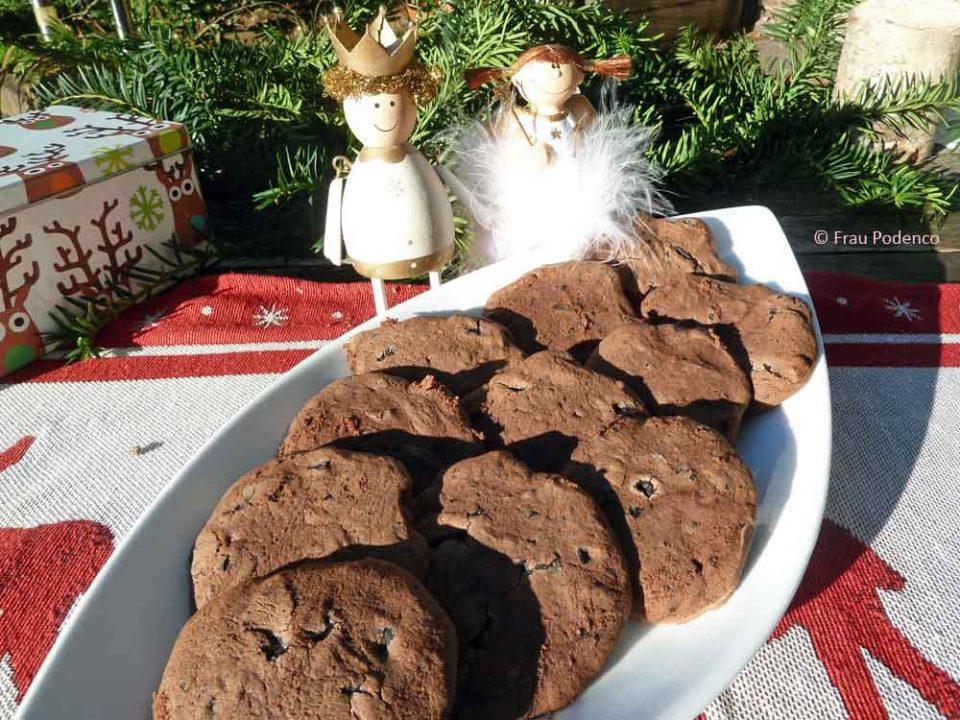 chocolate creamcheese cookies rezept, schokoladenkekse rezept