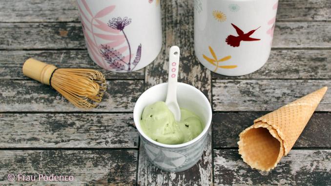 Rezept für Matcha-Eis, einfach, gelingsicher mit und ohne Eismaschine