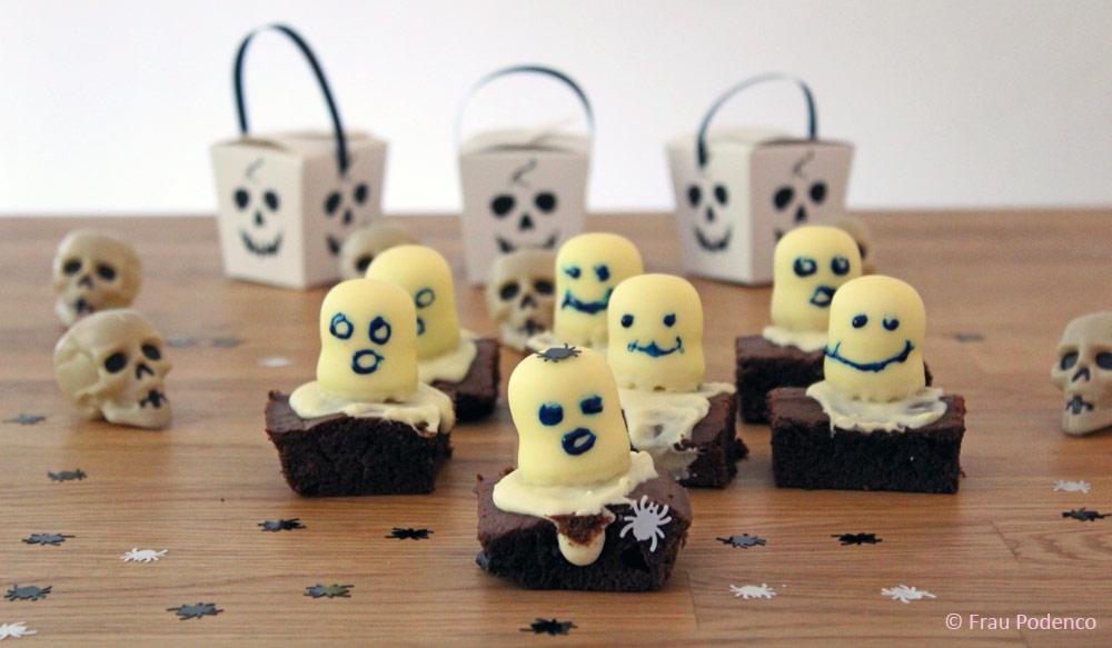 backen zu halloween, rezepte, gruselige Brownies
