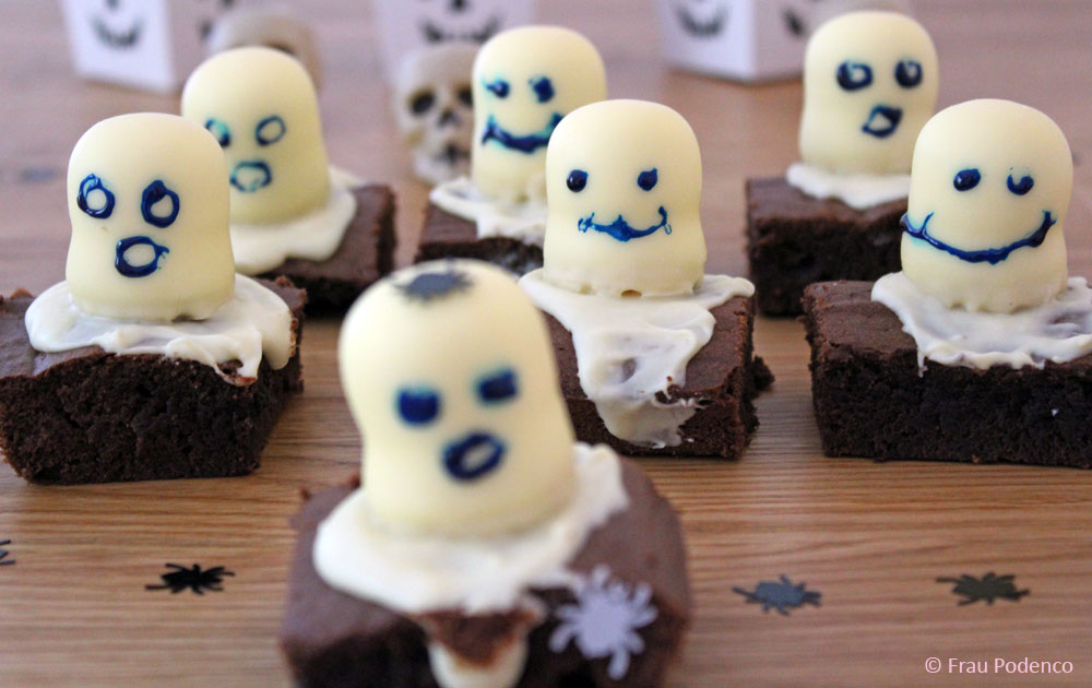 backen zu halloween, brownies mit geistern