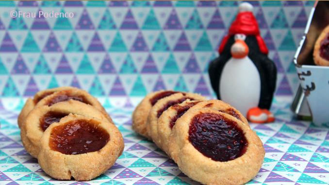kekse backen zu weihnachten, ochsenaugen