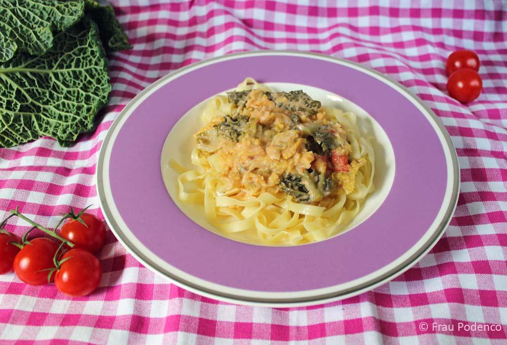Bandnudeln mit Wirsing-gorgonzola Sauce vegetarisch kochen