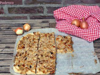 Zwiebelkuchen vom Blech, REzept vegetarisch und einfach