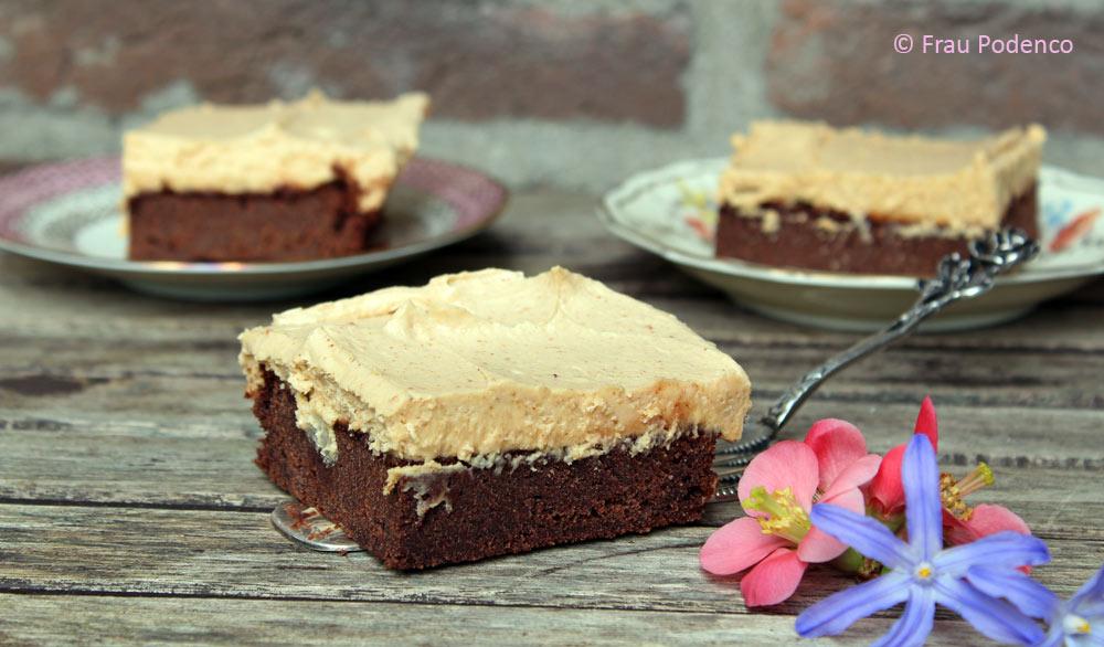 Brownie mit Erdnussbutter-Topping, Rezept mit SChokolade und Erdnussbutter