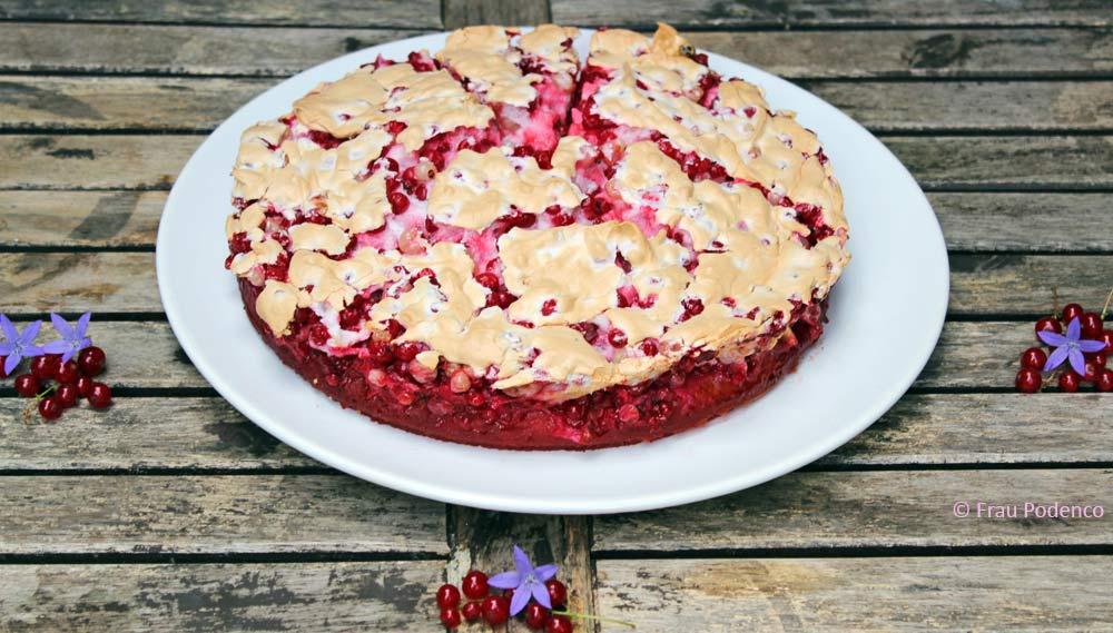 johannisbeer-baiser-kuchen Rezept für Sommerkuchen, Obstkkuchen, Kuchen mit Beeren